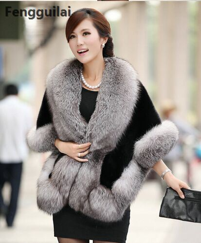 Winter Leather Grass Fox Fur Mink Rabbit Fur Poncho Cape Bridal Wedding Dress Shawl Cape Women Vest Fur Coat
