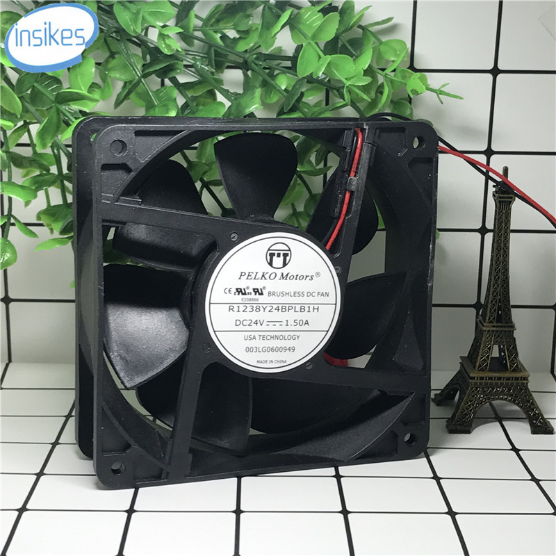 R1238Y24BPLB1H Inverter Cooling Fan DC 24V 1.5A 7600RPM 12038 12CM 120*120*38mm 2 Wires рубашки