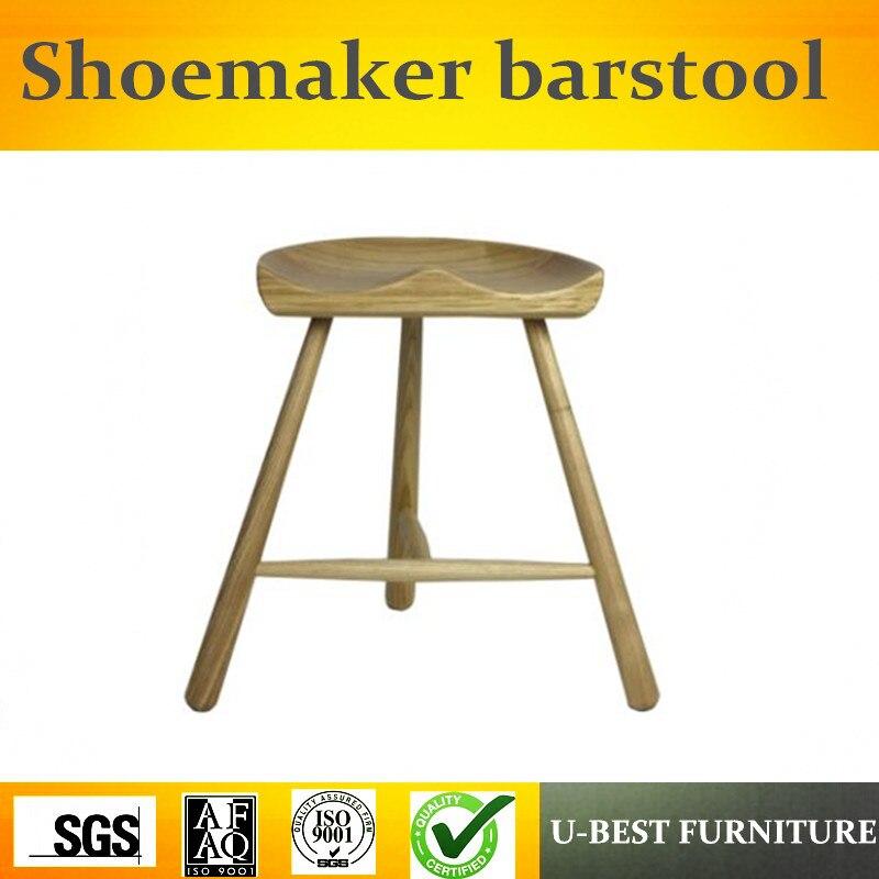Free Shipping U-BEST Stylish Design Bar Furniture Walnut Finish Wood Shoemaker Barstool,Midcentury Modern Furniture
