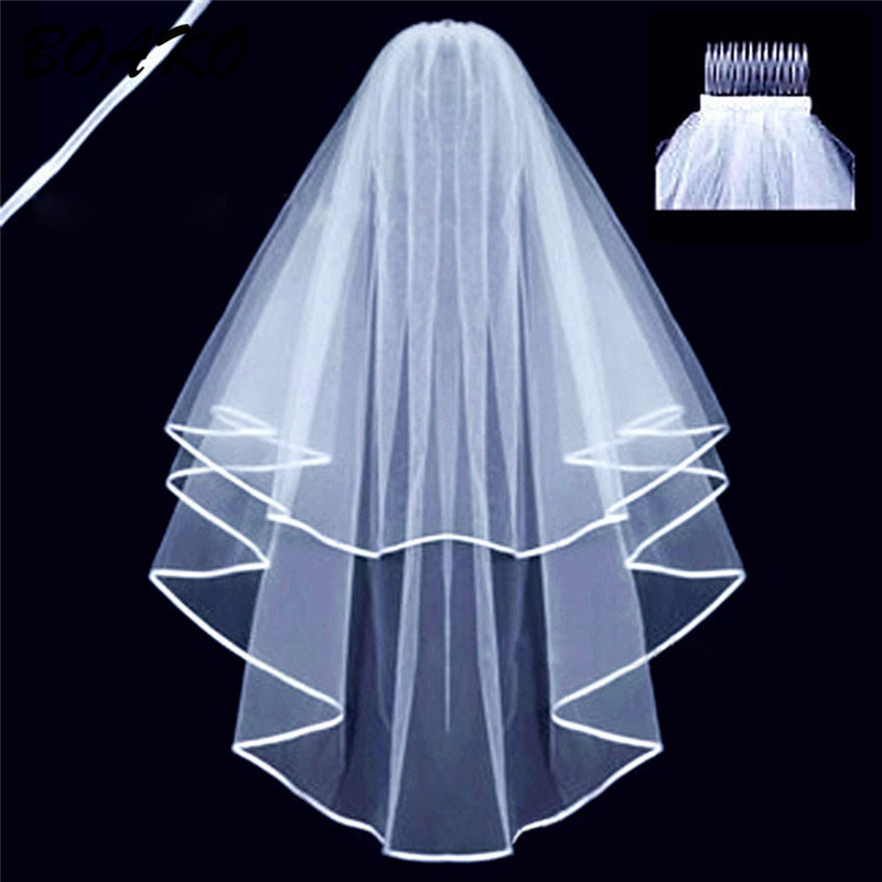 BOAKO Two Layers Short Wedding Veils with Comb Cheap 2019 White Beige Bridal Veils Tulle Mariage Wedding Accessories Women Veils