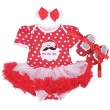 Newborn Baby girl clothes Cotton Christmas gifts Romper dress/Bebes Coveralls for newborns Jumpsuits+Toddler shoes+headband