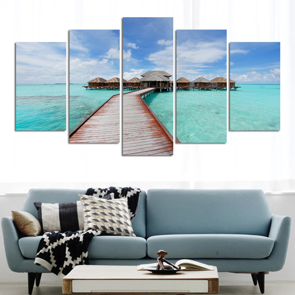 photography Canvas Painting Modern Abstract bridge and house above sea Painting Canvas Art Seascape Wall Picture for Living Room