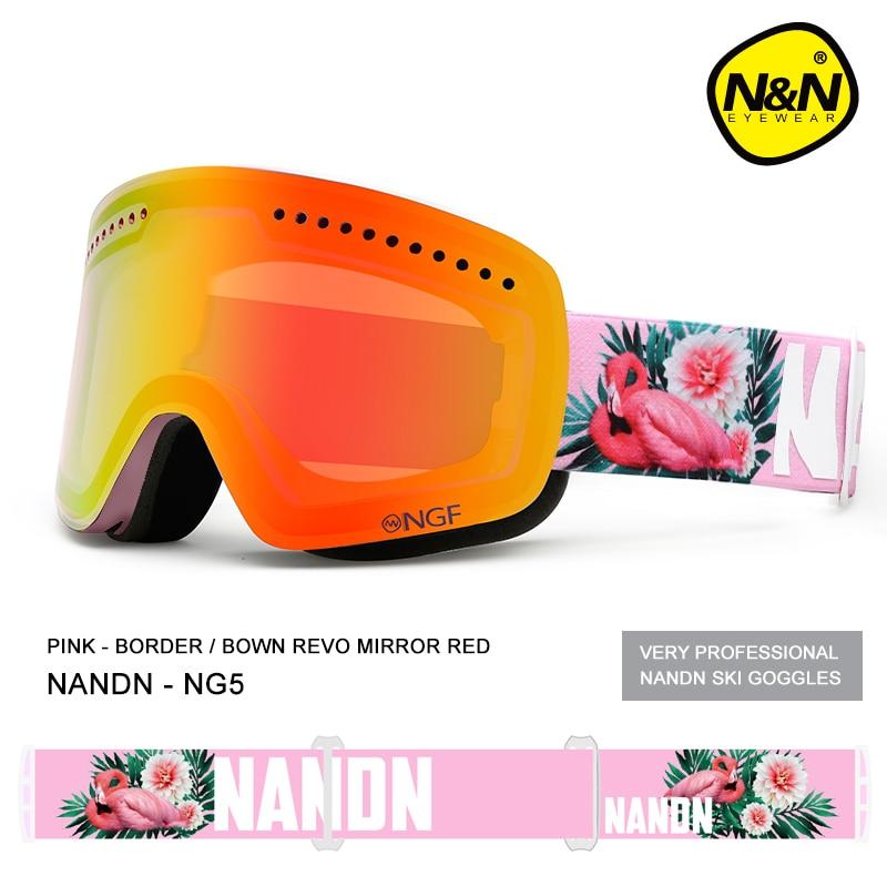 NANDN ski goggles double layers UV400 anti fog big ski mask glasses skiing men women snow