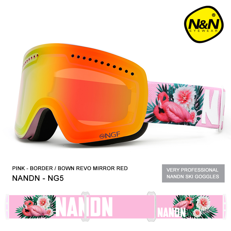 NANDN ski goggles double layers UV400 anti-fog big ski mask glasses skiing men women snow snowboard goggles NG5 pelliot brand ski goggles double layers