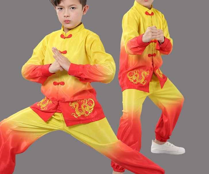 Musim panas anak-anak & Dewasa bordir naga gradien seni bela diri kung fu seragam tai chi setelan anak kinerja wushu pakaian