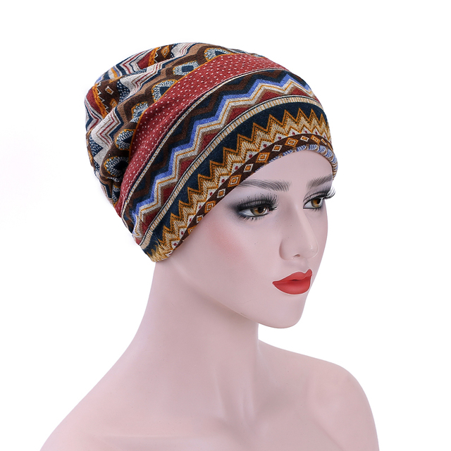 Cotton Printed Bandanna Wrap Beanies Cotton Cancer Hat Casual Caps Chemo  Bonnet Headcover Stretchy fabric 031382b1d4b