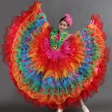 Сетка с длинным рукавом Красочные фламенко Вечерние платья Бальные платья для танцев Женская испанская одежда Цыганский костюм сценическая одежда DN3593