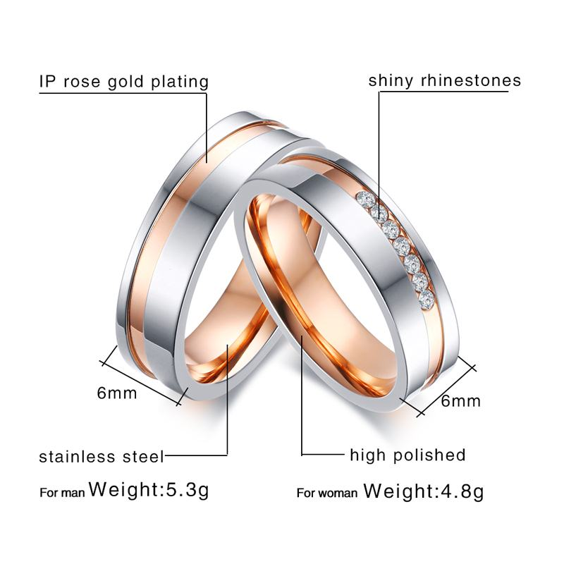Vnox Personalize Elegant Wedding Rings For Women Men Cz Stones