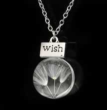Hot Fashion Crystal Glass Ball Dandelion Wish Necklace Long Strip Link Chain Pendant Necklaces Women 2015 Jewelry DIY