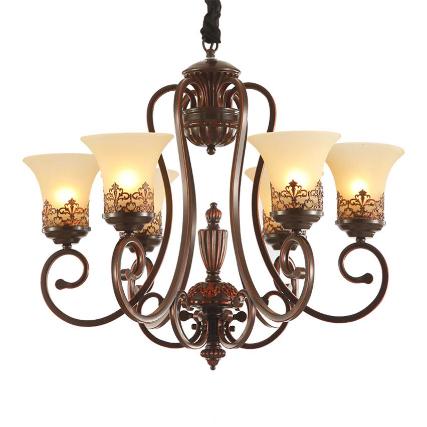 JW European Amerikanischen Lndlichen Wohnzimmer Kronleuchter Lampe Eisen Retro Antikes Kupfer Messing Farbe Premium Vintage Beleuchtung
