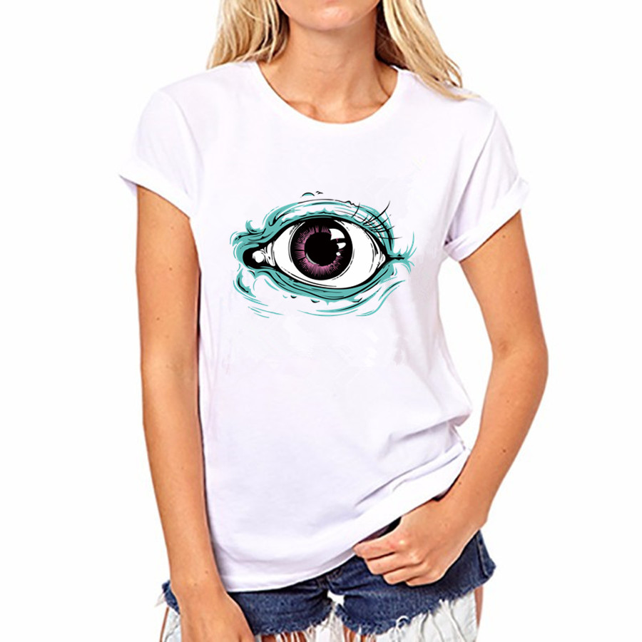 2016 Summer Autumn Women Eye Print O neck Short Sleeve Women Blouses Cotton Shirts blusas FS50-WB-YH80