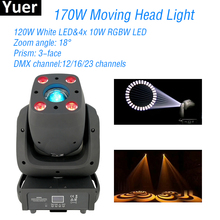 цена на New 170W LED Spot Moving Head Light 120W White LED 4x10W RGBW LED DMX512 DJ Disco Light Equipment Party Club Stage Lights