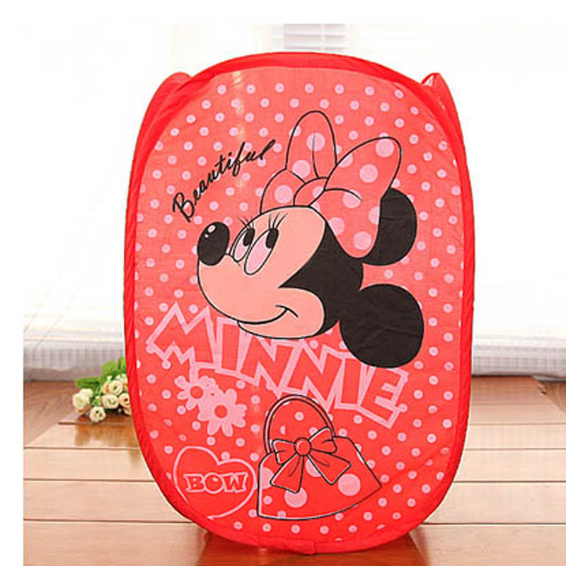 New Minne pattern cartoon series Dirty Clothes Bucket, Folding Mesh Storage basket, Sorting Bags Laundry Basket Toy sort