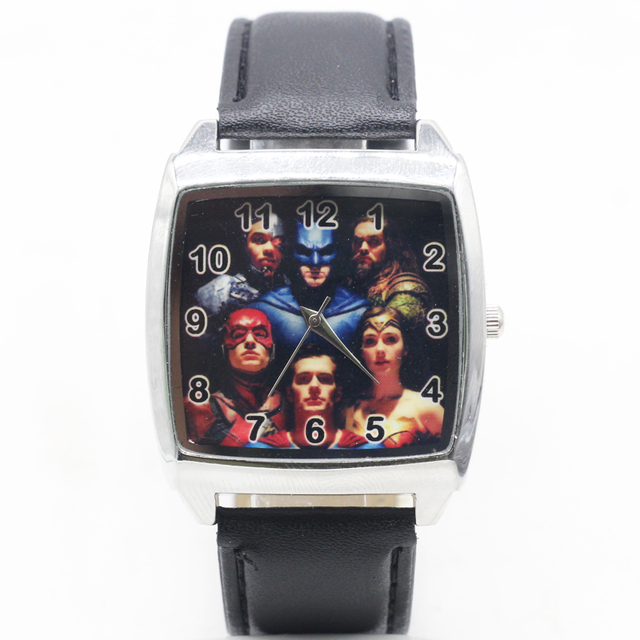 2018 new free Shipping DC justice league Superhero Black Leather Band square Wat