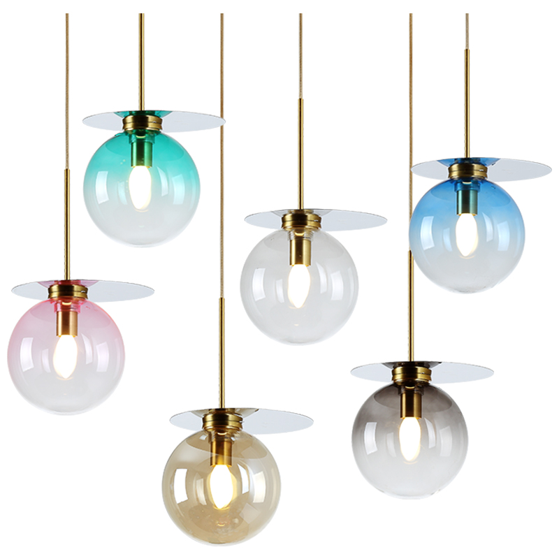 Nordic style colorful glass chandeliers modern simple foyer restaurant macaron Stained glass Light luxury E14 LED pendant lamp