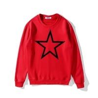 Autumn/winter new fashion three dimensional black pentacle stars Sweatshirts men women lovers plus velvet long sleeved jacket