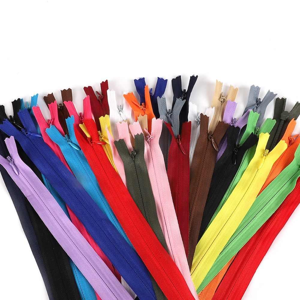 Fermeture éclair Invisible pour vêtements de couture | 10 pièces, 28cm, 35cm, 40cm, 50cm, 55cm, 60cm de Long, violet, Orange, vert, noir, Nylon, bricolage