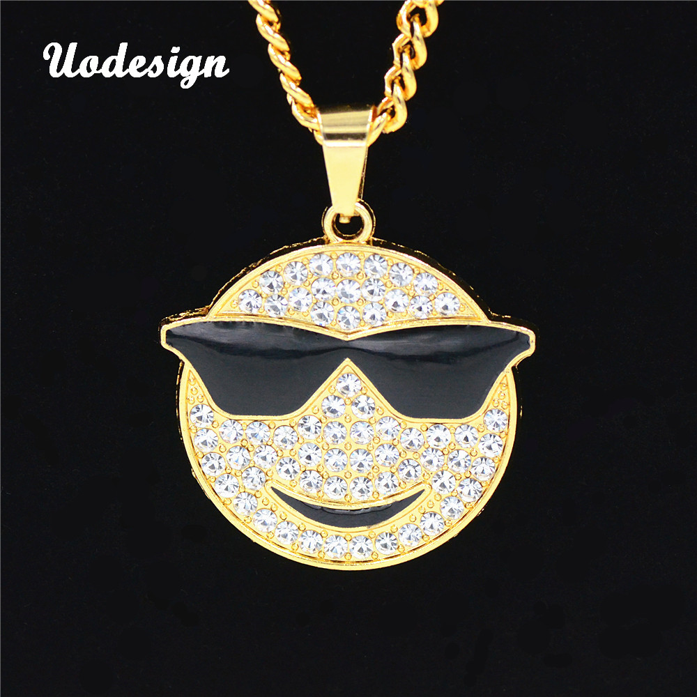 Uodesign Hip Hop Jewelry Full Crystal Glasses Smile Face Pendant 75cm Chain Bling Cool Necklace Men's Fashion Accessories <font><b>HP110</b></font> image