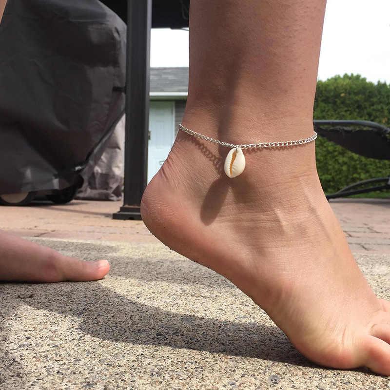 S181 moda czeski Shell wisiorek łańcuch liny Handmade obrączki dla kobiet regulowane wielowarstwowe stóp noga Boho bransoletka kostki