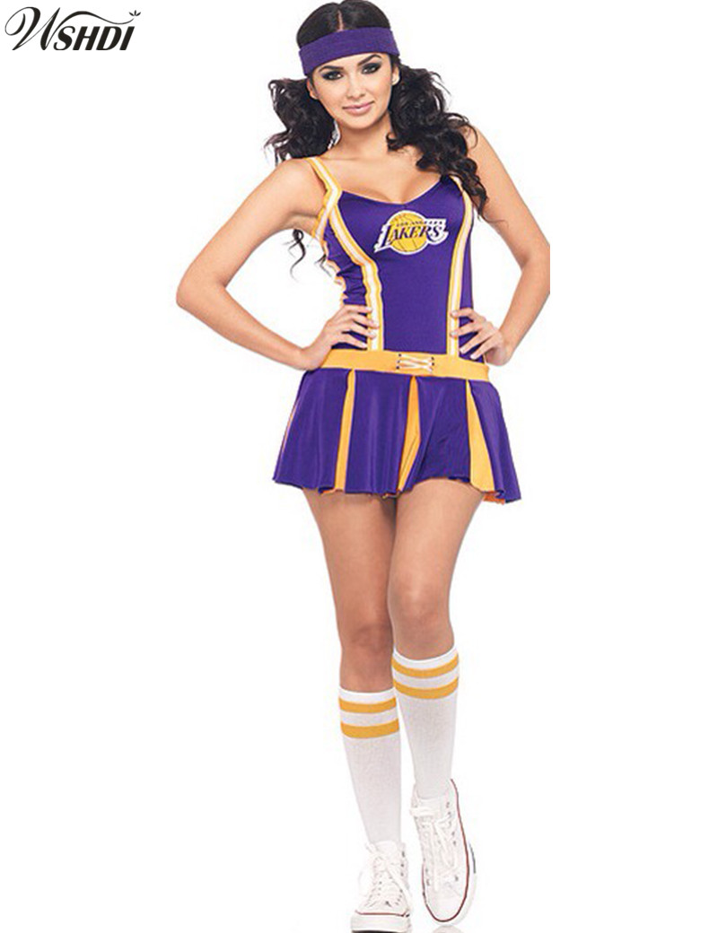 Sexy High School Cheerleader Costume Cheer Girls Uniform 2018 New Arrival Cheerleading Fancy Dress + Stockings