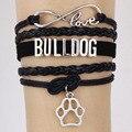 New Popular  Infinity 8 Love Bulldog Bracelet Gift for Animal Breeds Dog Paw Charm Bracelets & Bangle Leather Jewelry