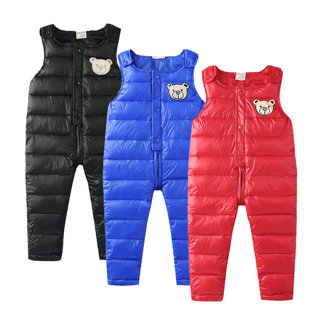 Baby Down Pant Boys Warm Duck Down Overall for Russia Winter Children Trousers Kids Jumpsuit 2-4 Years Baby Girls Pants