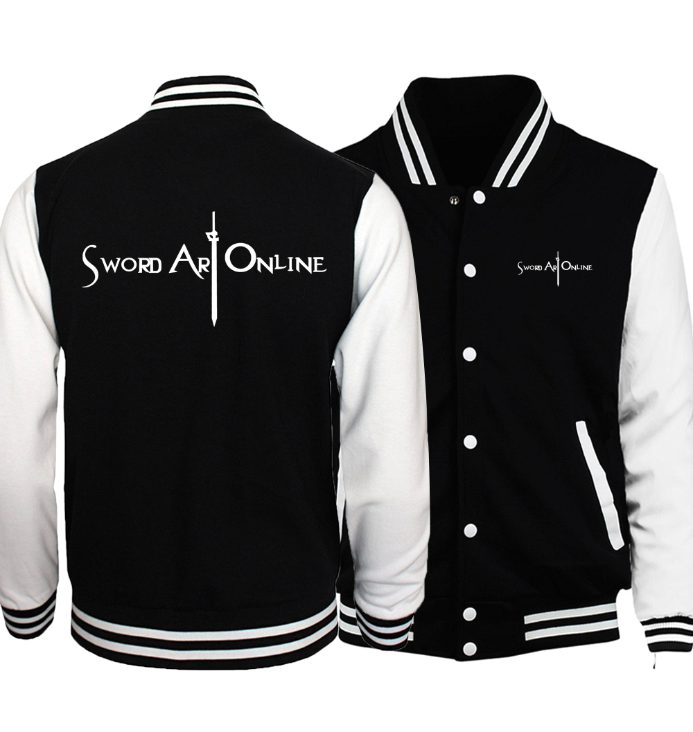 Sword Art Online S.A.O Jacket Men Naruto Uzumaki Coat Baseball Uniform 2018 Spring Anime Harajuku Jackets Hip Hop Streetwear 5XL