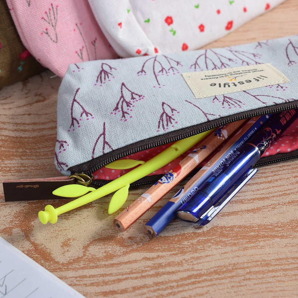新ラブリーかわいい花の花の生地鉛筆ケースキャンバスジッパー学校かわいい鉛筆ケース学用品学校ツール