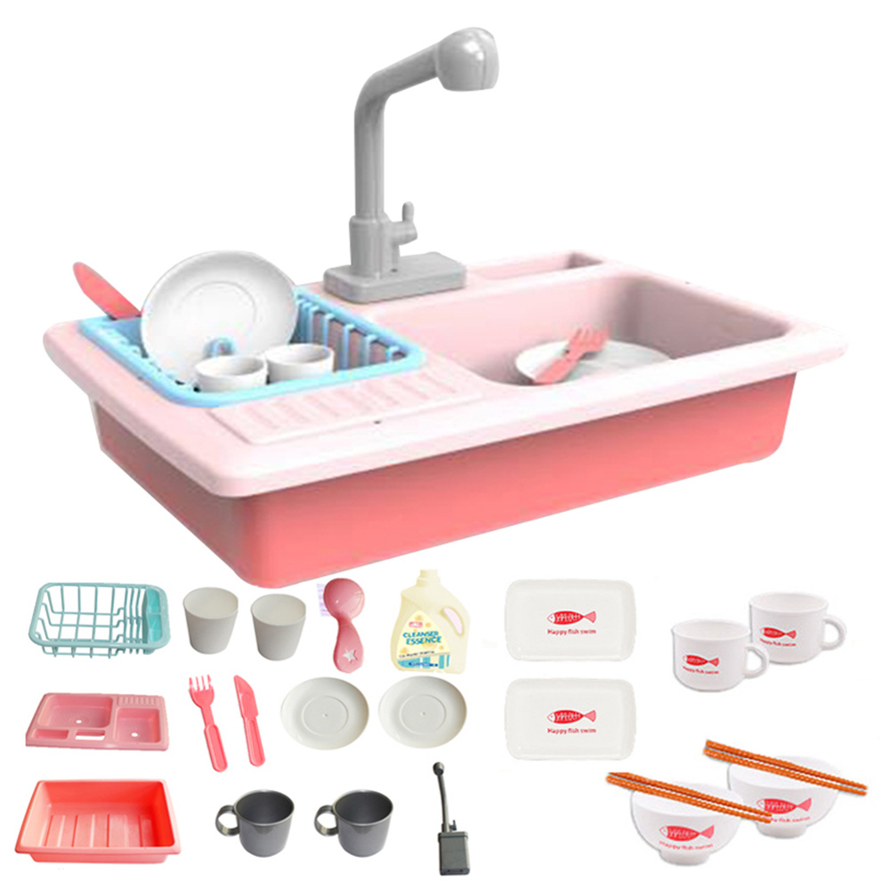 Kitchen Electric Children Sink Pretend Play Set Circulation Pool Educational Toys
