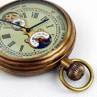 1882'S NY Tourbillon Pure Copper Antique Men Mechanical Pocket Watch