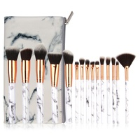 15 Pcs Marble Pattern Cosmetic Brushes Powder Foundation Eyeshadow Lip For Plastic Handle Makeup Brushes Set Beauty Tool Kit L1 Eye Shadow Applicator