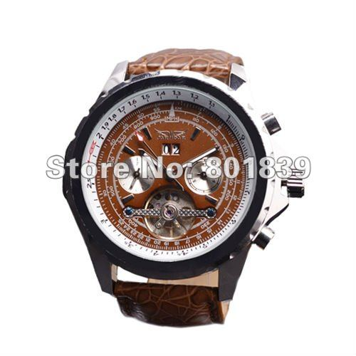 Luxury Brown Dial Mens AUTO Watch 6 Hand Mechanical Watch Wrist Watch Nice Gift Wholesale Price FL00013 wholesale cool chro auto mechanical mens s steel watch freeship