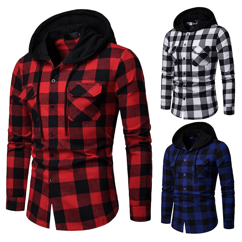 New 2020 Shirt Men Spring Hot Sale Quality Plaid Shirts Hooded Outwear Long Sleeve Casual Male Chemise Homme EU Size S-XXL