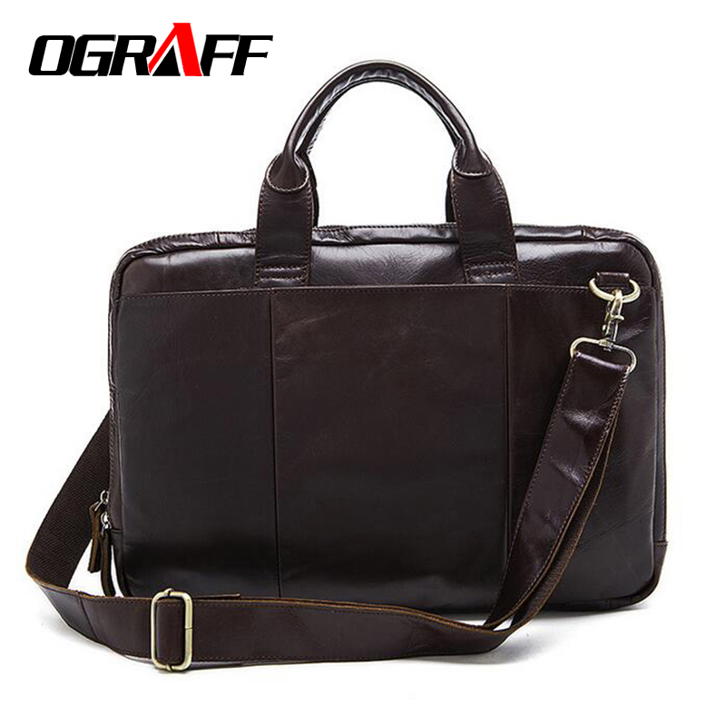 ФОТО OGRAFF Genuine leather bag Men messenger bags business Men's Handbags Bags for gift High Quality vintage laptop brand briefcase