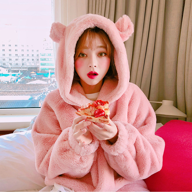Thick Soft Warm Cute Hairy Plush Hooded Coat Sweatshirt For School Girl Women Loose Pullover Casual Long Sleeve Pink Top Female