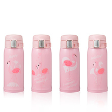 Pink Flamingo Stainless Steel Thermos Mug Thermo Baby Child Feeding Cups Milk Hot Water Bottle Cartoon Cat Vacuum Cup For Kid 300ml baby feeding thermos cup cute dog vacuum milk cup with bells girl stainless steel insulated cup leak poof hot water bottle
