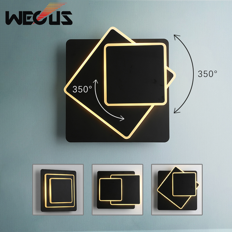 Creative rotating square wall lamp Nordic simple modern staircase light  living room study bedroom bedside foyer lampCreative rotating square wall lamp Nordic simple modern staircase light  living room study bedroom bedside foyer lamp