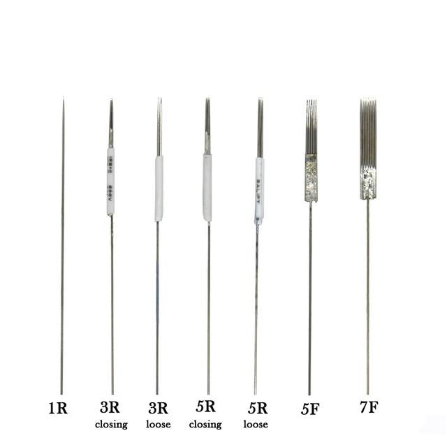 50pcs Microblading Needles 1R/3R/5R/5F/7F Tattoo Machine Needles Disposable Sterile Microblades Permanent Makeup Tattoo Supplies