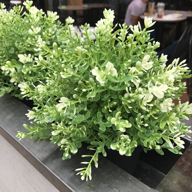 7 rama ramo de flores Artificiales de plástico Verde Milan plantas Artificiales