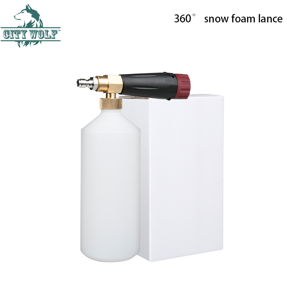 snow foam lance City wolf high pressure washer foam gun  with 1/4 quick connector disinfection car cleaning accessory-in Car Washer from Automobiles & Motorcycles