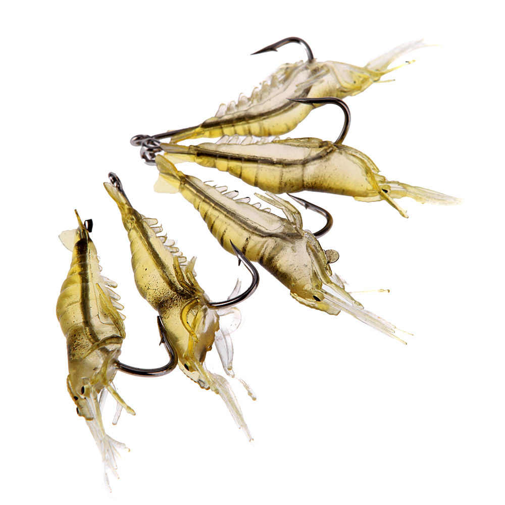 5 uds de atraer a la Pesca 4cm 2g océano suave ligero cebo para peces vivos camarones cebo langostino con equipo de anzuelo para pescar Pesca