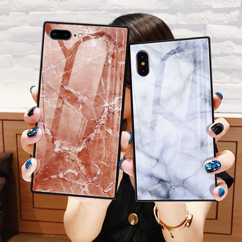 TOMKAS Black Luxury Marble Phone Case for iPhone 6 6s X Xs Glass Back Cover Case for iPhone 7 8 Plus Silicone Square Shockproof  (23)