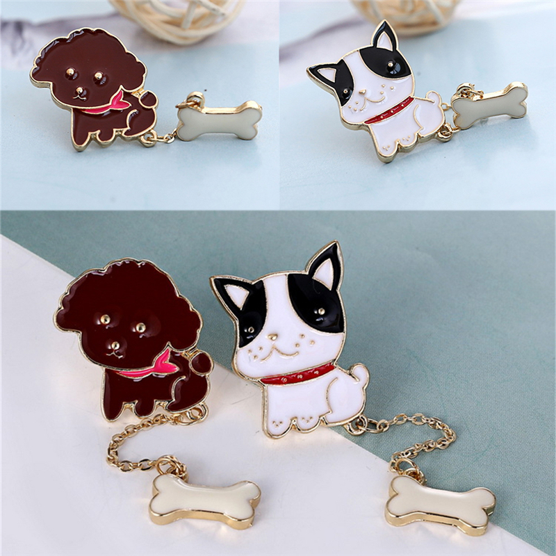 1 Pc Teddy Bulldog Bone Brooches Gunmetal Boat Anchor Cat Fish Dog Animal Multicolor Enamel Fashion