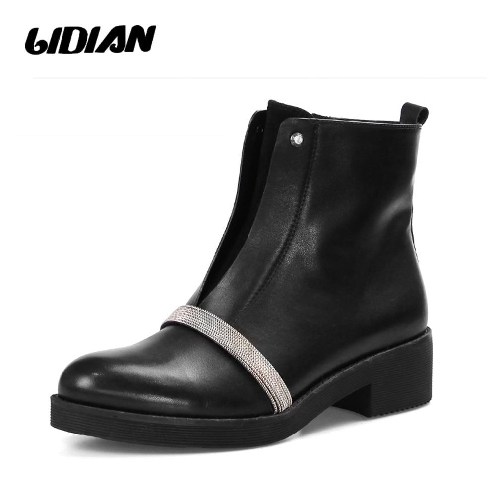 Ferse B44 Hohe Short black Kette Metall Black Plush Wool Schwarz Frauen Mode Stiefeletten Flache Echtes Leder Herbst Schuhe Lidian Qualität Booties wIZqExCT