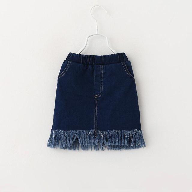 Baby girls denim skirts 2016 spring summer new style children girls tassel skirt kids skirts beautiful girls fashion skirts