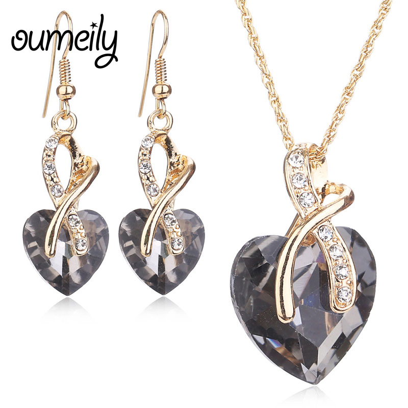 OUMEILY African Beads Jewelry Set Necklace Earring Luxury Gold Color Imitation Crystal Heart Women Engagement Dress Accessories