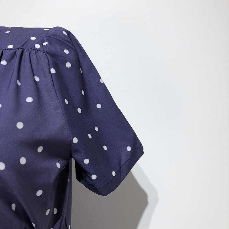 Phụ nữ hải quân xanh cap tay áo váy mùa hè phong cách polka dot in loe mini dress