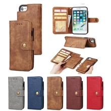Magnetic Removable Stand Wallet Card Case Cover for Apple IPhone 7 6 6S Plus Samsung Galaxy
