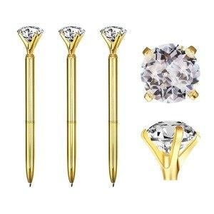 Image 3 - 500Pcs/Lot Real Metal Big Diamond Ball Point Pen High Quality Fashion Business Pen Promotion School Stationery Gift  rystal Pen