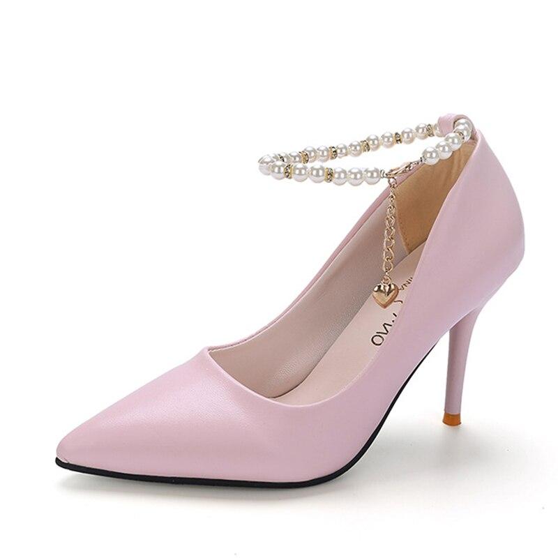 Moda Señoras De Primavera Boca Perlas 2017 Otoño Y Negro Tacón Zapatos Con Casuales rosado Nueva Superficial blanco Alto Puntiagudos gw47xqB